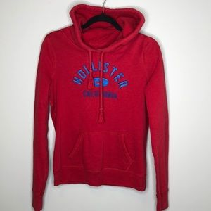 HOLLISTER red front blue graphic logo hoodie M